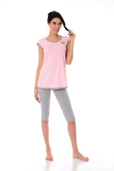Pigiama della donna camicia maniche e 3/4 leggings 1453