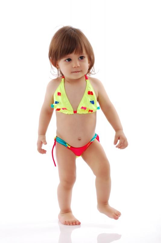 Bambini Bikini Swimsuit fondi triangolo morbido con legami 1114