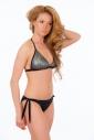 Bikini set morbido triangolo e nastri legame fondi laterali 1193