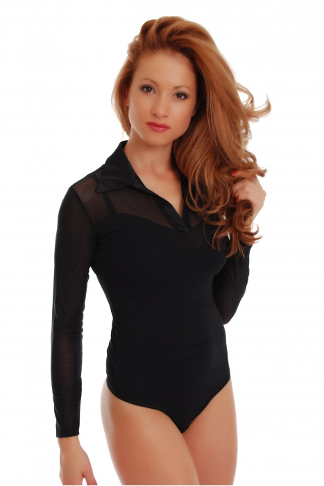 Womens Body in cotone colletto aperto collo a maniche lunghe Thong 1470
