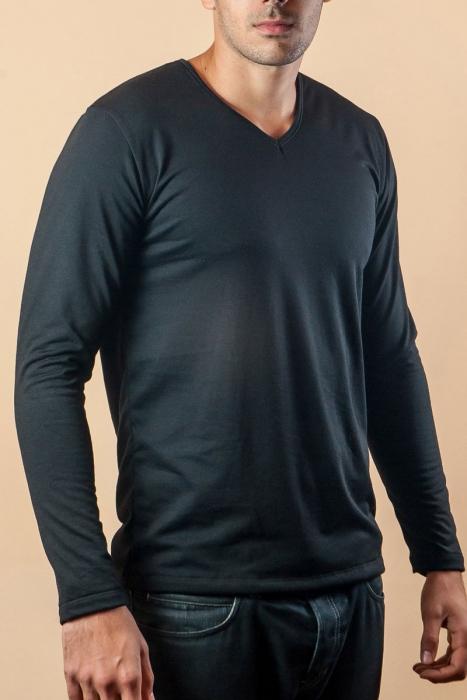 Termo maglietta del manicotto lungo V-collo del cotone cardato 15-135