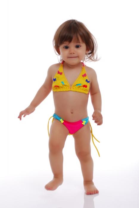 Bambini Bikini Swimsuit fondo morbido triangolo con legami 1114