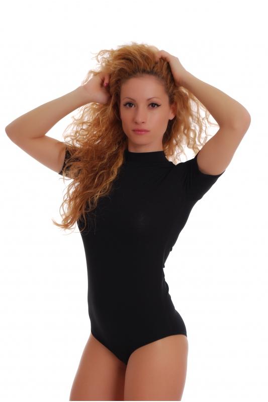 Cotone Stile Body Collo corto Bikini manica 1435