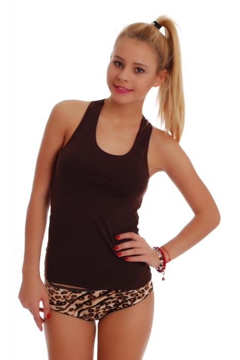 femminile Set Tank Top schiena scoperta & Boyshorts Mutandine Leopard 1308-1065