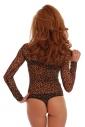 Sexy Tulle Womens Body manica lunga Tartaruga collo Thong 343