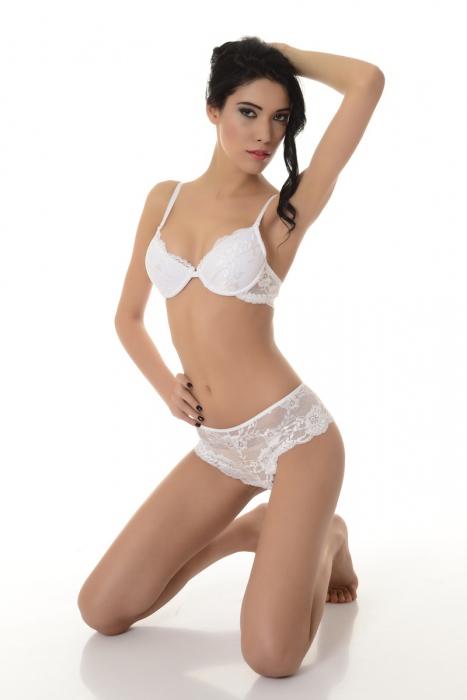 Signore elegante Set Bra Lace & Panties Elegant 5612 bianco